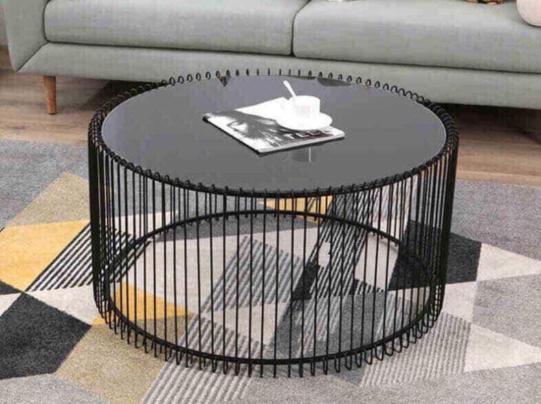 bàn tròn đan lồng chim